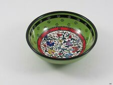 Turkish Hand Painted Ceramic Anatolian Green Floral Bowl : 6 inch : Signed