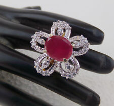 Indian Fashion Jewelry 2 Tone Ad Ruby Party Wear American Bridal Ring Free Size