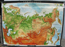 School Wall Map Wall Map Map Map Russia Russia 3,5mio 1968 1a Soviet Union