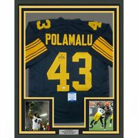 FRAMED Autographed/Signed TROY POLAMALU 33x42 Pittsburgh CR Jersey Beckett COA