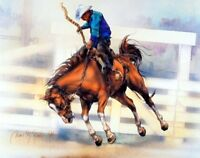Western Cowboy Rodeo Riding Horse Picture Art Print (8x10)