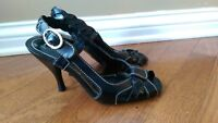 Nine West Black Strappy Heels - Size 6.5M - NWChanise - Leather Upper