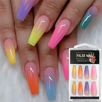 20pcs Long Coffin Fake Nails Rainbow Ballerina Full Nail Art Tips False Nails Ebay For a relatively small coffin nails, you can opt for a floral touch. usd