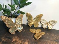 Vintage 60s SYROCO Mid-Century GOLD BUTTERFLIES Wall Hangings MCM Homco BURWOOD