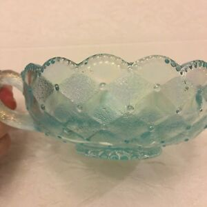 Imperial light blue carnival glass bowl with handle, vintage, excellent