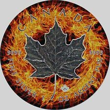2017 1oz .999 Canadian  Maple Leaf,Fire Background & Black Ruthenium Silver Coin