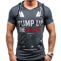 Mens Fashion Slim Fit Hooded  T-shirt Short Sleeve Muscle Tops Tee Casual Shirt