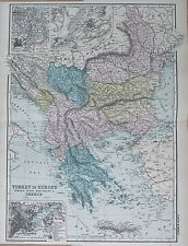 1890 LARGE VICTORIAN MAP -  TURKEY IN EUROPE, ROMANIA, SERBIA, MONTENEGRO, GREEC