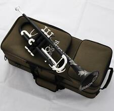 Matt Black Trumpet horn Monel Valves Beautifully Hand carved New Case Warranty