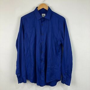 Zara Mens Button Up Shirt Size L Large Blue Long Sleeve Collared Slim Fit