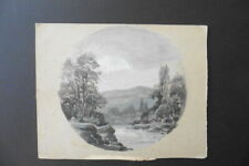 FRENCH SCHOOL 19thC - A WOODED RIVERLANDSCAPE SIGNED RICOU - INK-WATERCOLOR