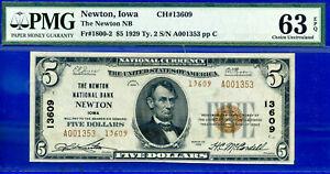 TOP POP 1/0 CH# 13609 - 1929 $5 (( FINEST Known - Newton, Iowa )) PMG 63EPQ