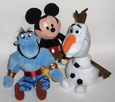 Disney Plush  three favorites --Mickey--Olaf--Alladin   -  small collectibles