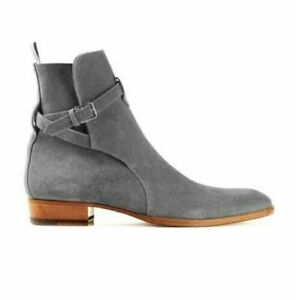 Handmade Jodhpurs Ankle Boot, Men Gray Suede Leather Boot, formal strap boots