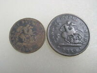 1850 Bank Of Upper Canada Penny & Half Penny Coin Tokens  B3593