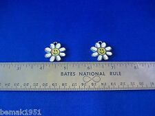 "Two Yellow Face Smiling White Daisy Charms Earrings Pendant 1"" Diameter Used"