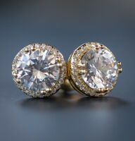 Mens Womens Round Circle Lab Simulated Diamond Stud Screw Back Earrings