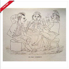 CARICATURE CARD PLAYERS AT BLIND HOOKEY INK C1850