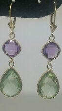 14k Yellow Gold Earrings With Green Amethyst And Amethyst Stones