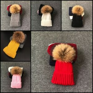 Winter Fur Pompom Hat Kid Boy Girl Cute Children Winter Bee Beanie Cap Baby Hats