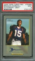 2006 topps turkey red autograph gray #trabm BRANDON MARSHALL rookie card PSA 9
