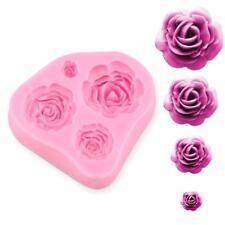 Silicone 4 Size Roses Flower Mould Sugarcraft Cake Decorating Making Tools ES