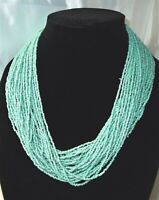 Vintage Glass Seed Bead Necklace THICK Multi Strand Aqua /Turquoise 22""