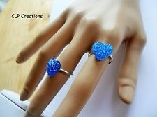SPARKLY COBALT BLUE HEART FINGER RING, Silver plate Adjustable, Love Kawaii Cute