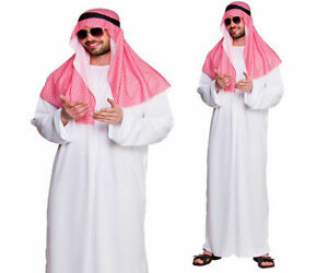 Adult Mens Arab Sheikh Costume Sultan Prince Robe Fancy Dress Outfit M-XL