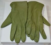 Ladies M/L Soft Green Genuine Leather Polyester Lining Winter Gloves Wrist