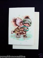 Vintage Unused Mary Hamilton Xmas Greeting Card Couple Ice Skating Hand in Hand