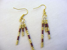 Earrings Drop Sports Team Gold  Dark Red Beads Metal Alloy Bullock & Dorchsester