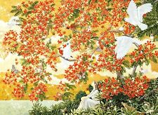 """Jun Sato """"FLAME TREE"""" Lady Woman White Birds SHIMMER BOXLESS Jigsaw Puzzle *NEW"""