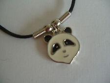 "Cabeza De Esmalte Panda Collar/Colgante Con Cordón Negro 18"""