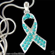 Teal w Swarovski Crystal Ovarian Cervical Cancer Awareness Ribbon Charm Necklace