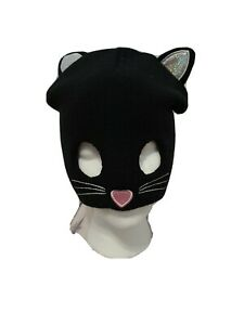Claire's Girls Kitty Mask Beanie Hat Black