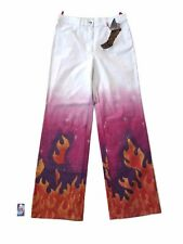 UNGARO FEVER FLAMES WOMEN'S WHITE/PINK PANTS SIZE 32 WITH TAGS MADE IN ITALY 71