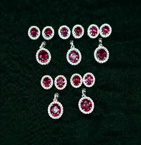 WHOLESALE 5PC 925 STERLING SILVER CUT RED RUBY TOPAZ EARRING PENDANT SET A117