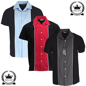 Relco Bowling Shirt Short Sleeve in Black Red Grey Vintage 50s Rockabilly Retro