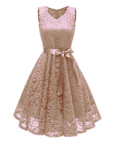 Lady Lace Up Dress Cocktail Party Night Ball Gown Evening Wedding Prom Bowknot