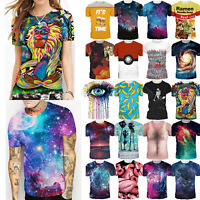 Mens Womens Casual 3D Print Graphic T Shirt Short Sleeve Slim Fit Tee Top Blouse