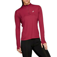 Asics Womens Silver Half Zip Long Sleeve Running Top Burgundy Sports Breathable