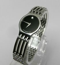Womens Authentic Swiss Made MOVADO Esperanza Classic Stainless Steel Black Watch
