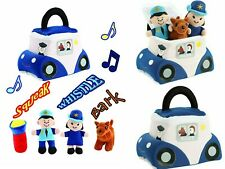 Police Car Plush Rescue Vehicle Carrier with Sound Figure Soft Baby Toy Play Set