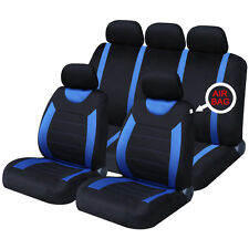 Universal Car Carnaby Black & Blue Seat Covers Washable Airbag Safe 8 Piece Set