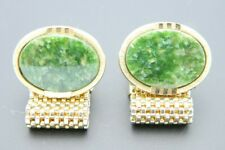 Green Faux Jade Round Stone Gold Tone Metal Mesh Cufflinks Vintage