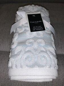 TAHARI Light Blue White Scroll Damask Luxury Bath Hand Tip Towel Set Of 2  NWT