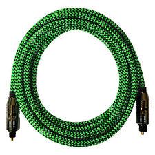 [i!]® 10m Premium Nylon Optisches Toslink Kabel | Digital Hifi Audio LWL | grün