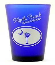 MYRTLE BEACH SC PALM MOON COBALT BLUE FROSTED SHOT GLASS