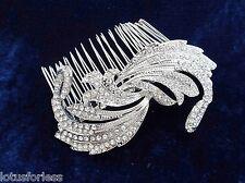 Bridal Diamante Hair comb Slide in Silver Tone Beautiful Vintage Look